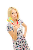Attractive blonde with lollipop — Stock Photo