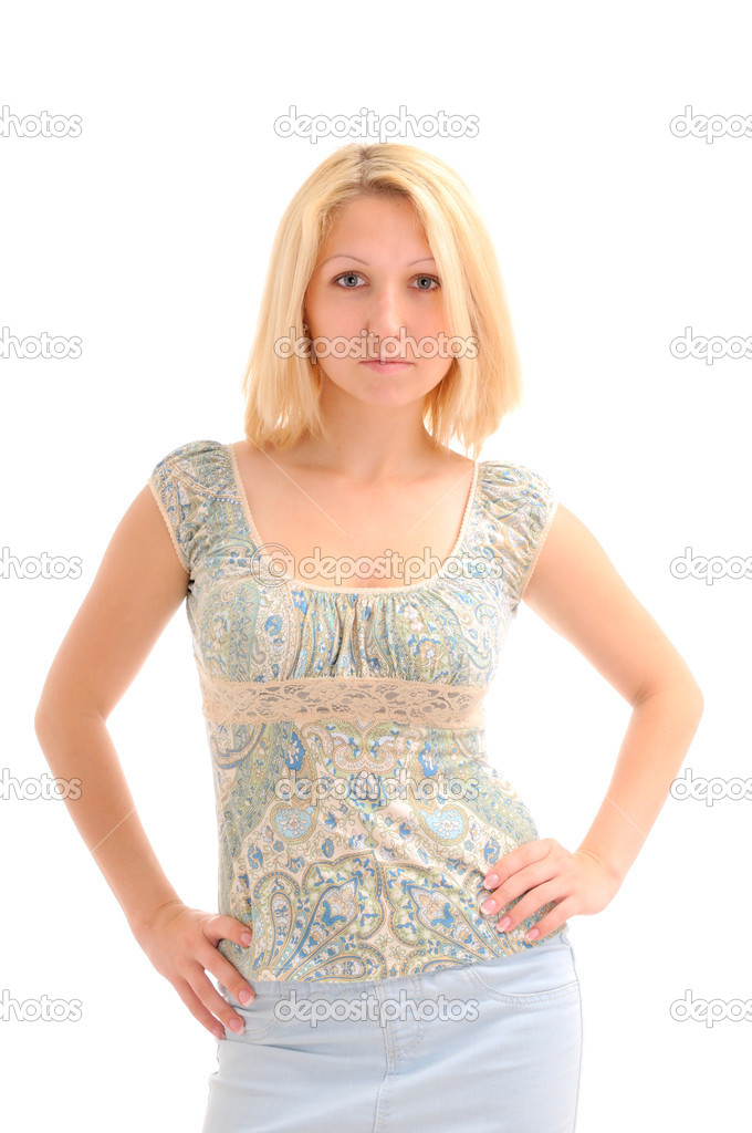 Pretty blonde with hands on hips over white background — Stock Photo #4647226