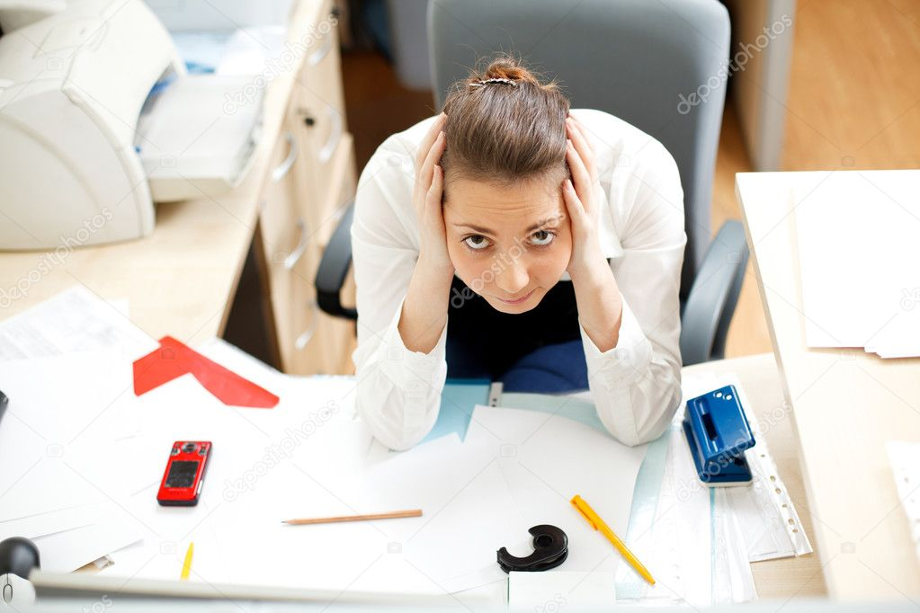 Office life. Tired young woman — Stock Photo #4649447