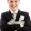 Happy man with dollars. — Stock Photo