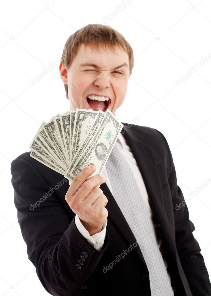Man with money. Isolated over white. — Stock Photo #5029820