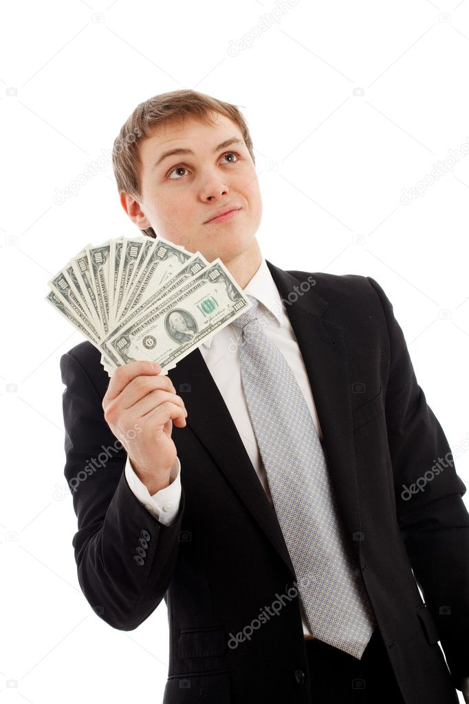 Man with money. Isolated over white  Stock Photo #5029827