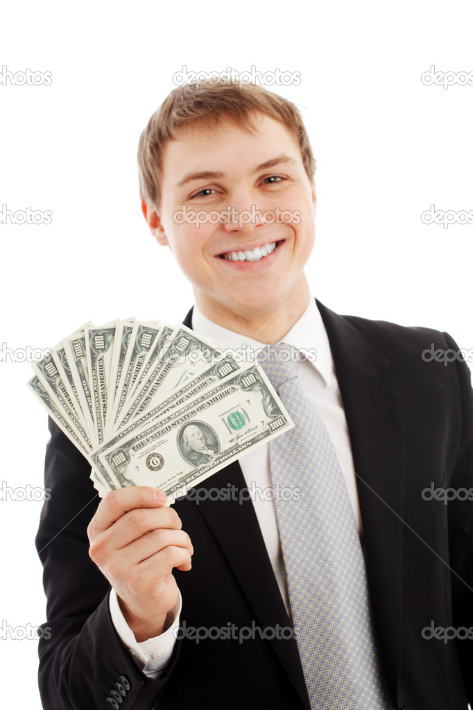 Man with money. Isolated over white — Stock Photo #5029830