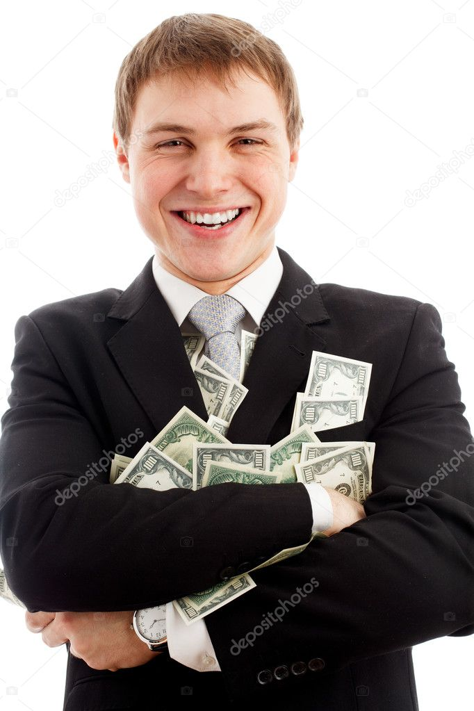 Happy man with dollars. Isolated over white.  Stock Photo #5029894