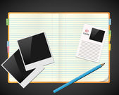 Caderno com fotos, id e lápis — Vetorial Stock