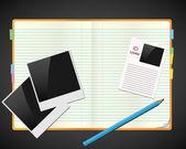 Skissbok med foton, id och penna — Stockvektor