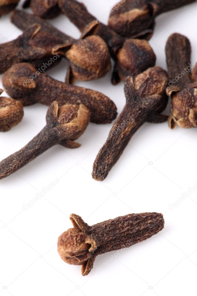 Cloves on the white background — Stock Photo #4351050