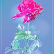 Outline pink rose over blue — Stock Vector
