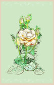 Tarjeta de felicitación de vendimia con rose — Vector de stock