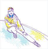 Chica deportiva en ropa deportiva. colección invierno — Vector de stock