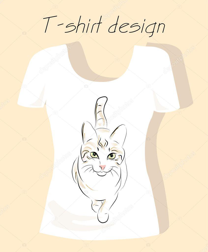 Dise o de camiseta con gato contorno silueta vector de for Stock t shirt designs
