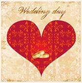 Vintage wedding card — Stock Vector