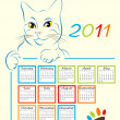 Cat showing calendar design 2011 — Stock Vector