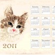 Vintage  calendar 2011 with cat — Vettoriali Stock
