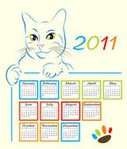 Cat showing calendar design 2011 — Stock Vector