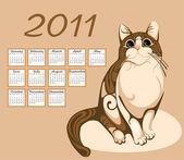 Calendar 2011 with tabby cat — Stock Vector