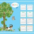 Childish calendar 2011 with kitten and butterflies — Image vectorielle