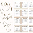 Calendar design 2011 with outline cat — Stock Vector
