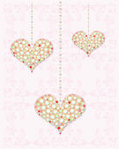 Greeting card with diamond hearts — Vetor de Stock
