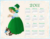 Vintage style calendar 2011 with cat and girl — Vector de stock