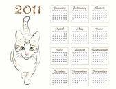 Calendar design 2011 with walking cat — Stock Vector