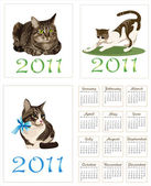Set of cats for pocket calendar 2011 — Stock Vector