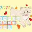 Childish calendar 2011 with funny kitten — Image vectorielle
