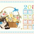 Calendar 2011 with cat  and roses - Stock Vector