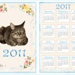 Vintage pocket calendar 2011 with cat. 70 x105 mm - Stock Vector