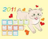 Childish calendar 2011 with funny kitten — Stock Vector