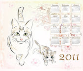 Calendar 2011 with cat and kitten — Stock Vector