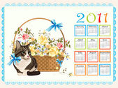 Calendar 2011 with cat and roses — Stock Vector