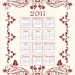 Vintage calendar 2011 with floral frame — Stock Vector