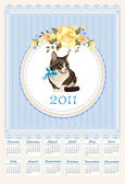 Folk calendar 2011 with cat and roses — Stock Vector