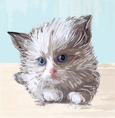 Hand drawn portrait of the fluffy kitten with blue eyes — Cтоковый вектор