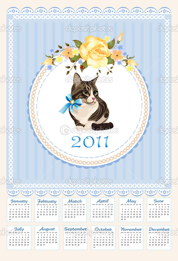 folk calendar 2011 with cat  and roses — Stock Vector #4211255