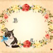 Greeting card with cat,  roses and butterflies — Stock Vector
