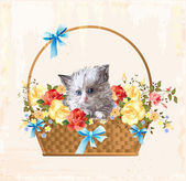 Vintage greeting card with fluffy kitten — Vector de stock