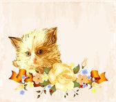 Ročník přání s zrzavé kotě — Stock vektor