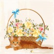 Vintage greeting card with ginger  kitten and basket — Imagen vectorial