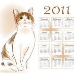 Calendar design 2011 with ginger tabby cat — Stock Vector #4326924