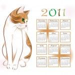 Calendar design 2011 with ginger tabby cat — Stock Vector #4326928