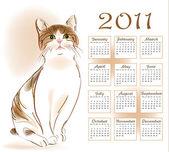 Calendar design 2011 with ginger tabby cat — Stock Vector