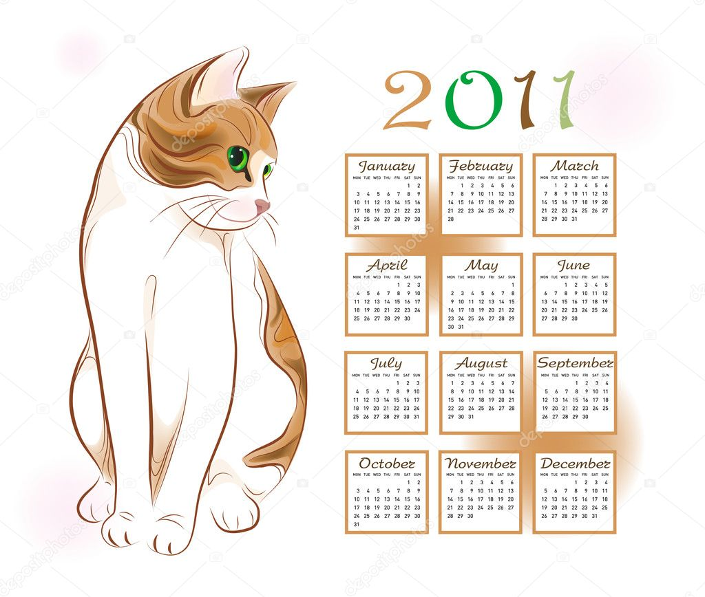 Illustration Calendar Design : Calendar design with ginger tabby cat — stock vector