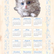 Hand drawn calendar 2011 with fluffy kitten — Vettoriali Stock