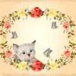 Stock Vector: Greeting card with kitten, roses and butterflies