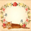 Vector de stock : Vintage greeting card with ginger cat and roses