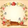 cartão vintage com gato ruivo e rosas — Vetorial Stock