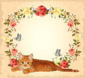 Vintage greeting card with ginger cat and roses — Stock Vector