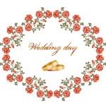 carta con rose rosse e anelli di nozze — Vettoriale Stock